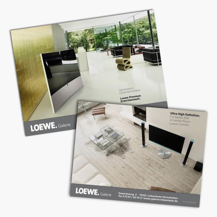 Gestaltung und regelmäßige Anzeigenschaltungen in Life Style Magazinen für die Loewe Galerie Linkenheim.