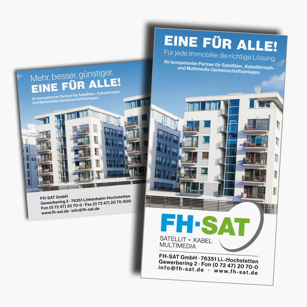 Anzeigenserie für die FH-SAT GmbH in Wochen- und Mitteilungsblättern. Langfristige Schaltungen nach einem Mediaplan.