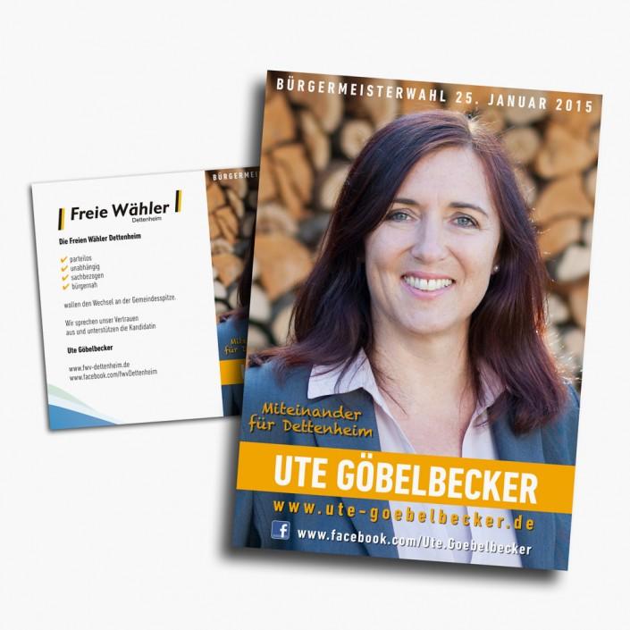 Plakat- und Informations-Flyer Werbung für eine Bürgermeisterwahl.