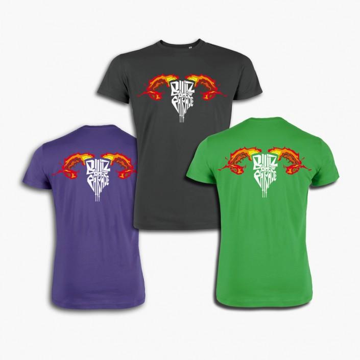 T-Shirts für die Musik-Band Bullz on Parade in verschiedenen Farben und Größen.