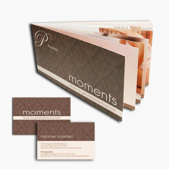 Gestaltung von Visitenkarten und einer 16-seitige Preisliste des Kosmetikstudios moments.