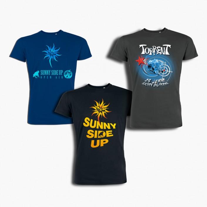 Gestaltung und komplette Durchführung von Festival T-Shirts und Jubiläums-Shirts einer Band.