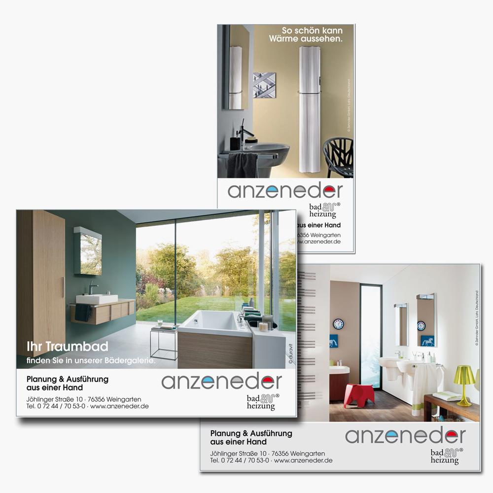 Gestaltung und Durchführung von Anzeigenserien der Firma anzeneder GmbH.