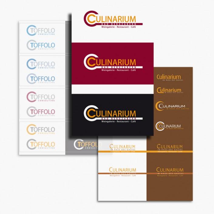 Logoentwicklung und spätere Durchführung verschiedener Werbemaßnahmen für das Culinarium Bad Bergzabern. Layouts von Aussenbeschilderung, Preislisten, Informations-Flyer 12-seitig und Anzeigenwerbung.